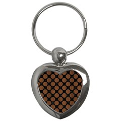 Circles2 Black Marble & Brown Wood Key Chain (heart) by trendistuff