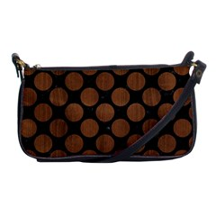 Circles2 Black Marble & Brown Wood Shoulder Clutch Bag by trendistuff