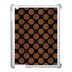 Circles2 Black Marble & Brown Wood Apple Ipad 3/4 Case (white) by trendistuff