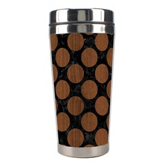 Circles2 Black Marble & Brown Wood Stainless Steel Travel Tumbler by trendistuff