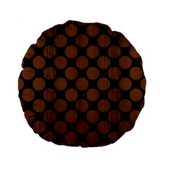 Circles2 Black Marble & Brown Wood Standard 15  Premium Flano Round Cushion  by trendistuff