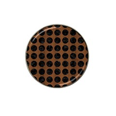 Circles1 Black Marble & Brown Wood (r) Hat Clip Ball Marker (4 Pack) by trendistuff