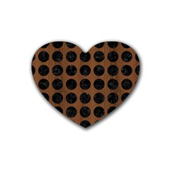 Circles1 Black Marble & Brown Wood (r) Rubber Heart Coaster (4 Pack) by trendistuff