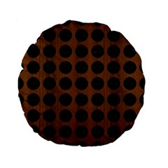 Circles1 Black Marble & Brown Wood (r) Standard 15  Premium Flano Round Cushion  by trendistuff