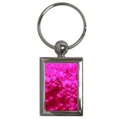 Hot Pink Floral Pattern Key Chains (rectangle)  by paulaoliveiradesign