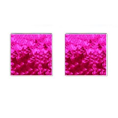 Hot Pink Floral Pattern Cufflinks (square) by paulaoliveiradesign