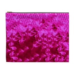 Hot Pink Floral Pattern Cosmetic Bag (xl) by paulaoliveiradesign