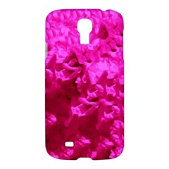 Hot Pink Floral Pattern Samsung Galaxy S4 I9500/i9505 Hardshell Case by paulaoliveiradesign