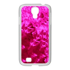 Hot Pink Floral Pattern Samsung Galaxy S4 I9500/ I9505 Case (white) by paulaoliveiradesign
