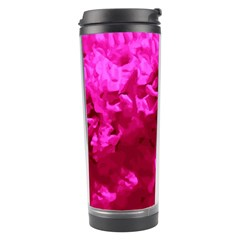 Hot Pink Floral Pattern Travel Tumbler by paulaoliveiradesign