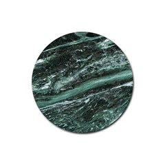 Green Marble Stone Texture Emerald  Rubber Coaster (round)  by paulaoliveiradesign