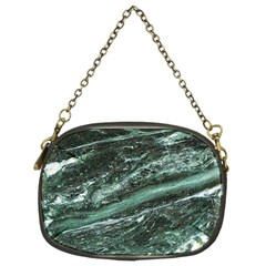 Green Marble Stone Texture Emerald  Chain Purses (two Sides)  by paulaoliveiradesign