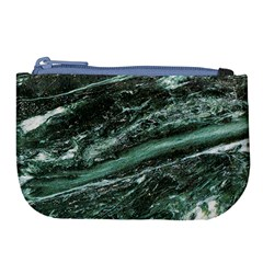 Green Marble Stone Texture Emerald  Large Coin Purse by paulaoliveiradesign