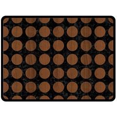 Circles1 Black Marble & Brown Wood Fleece Blanket (large) by trendistuff