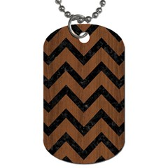 Chevron9 Black Marble & Brown Wood (r) Dog Tag (one Side) by trendistuff