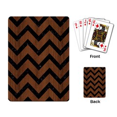 Chevron9 Black Marble & Brown Wood (r) Playing Cards Single Design by trendistuff