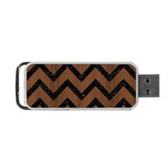 Chevron9 Black Marble & Brown Wood (r) Portable Usb Flash (two Sides) by trendistuff