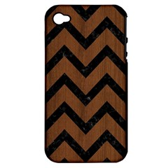 Chevron9 Black Marble & Brown Wood (r) Apple Iphone 4/4s Hardshell Case (pc+silicone) by trendistuff