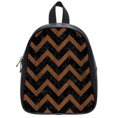 Chevron9 Black Marble & Brown Wood School Bag (small)