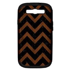 Chevron9 Black Marble & Brown Wood Samsung Galaxy S Iii Hardshell Case (pc+silicone) by trendistuff