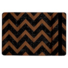 Chevron9 Black Marble & Brown Wood Apple Ipad Air Flip Case by trendistuff