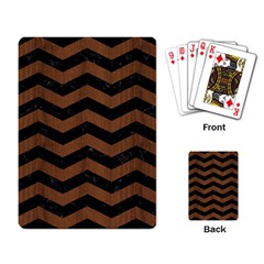 Chevron3 Black Marble & Brown Wood Playing Cards Single Design by trendistuff