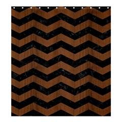 Chevron3 Black Marble & Brown Wood Shower Curtain 66  X 72  (large) by trendistuff