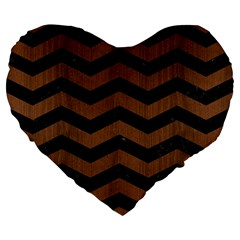 Chevron3 Black Marble & Brown Wood Large 19  Premium Flano Heart Shape Cushion by trendistuff