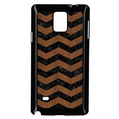 Chevron3 Black Marble & Brown Wood Samsung Galaxy Note 4 Case (black)
