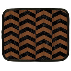 Chevron2 Black Marble & Brown Wood Netbook Case (xl) by trendistuff