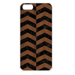Chevron2 Black Marble & Brown Wood Apple Iphone 5 Seamless Case (white) by trendistuff