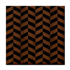 Chevron1 Black Marble & Brown Wood Tile Coaster by trendistuff