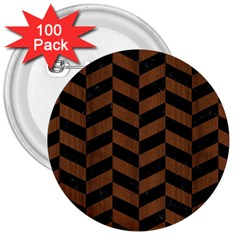 Chevron1 Black Marble & Brown Wood 3  Button (100 Pack) by trendistuff