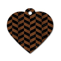 Chevron1 Black Marble & Brown Wood Dog Tag Heart (two Sides) by trendistuff