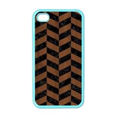 Chevron1 Black Marble & Brown Wood Apple Iphone 4 Case (color) by trendistuff