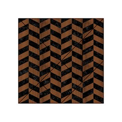 Chevron1 Black Marble & Brown Wood Acrylic Tangram Puzzle (4  X 4 )