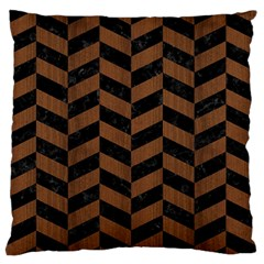 Chevron1 Black Marble & Brown Wood Large Flano Cushion Case (two Sides) by trendistuff