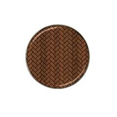 Brick2 Black Marble & Brown Wood (r) Hat Clip Ball Marker (10 Pack) by trendistuff