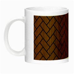 Brick2 Black Marble & Brown Wood (r) Night Luminous Mug by trendistuff