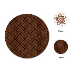 Brick2 Black Marble & Brown Wood (r) Playing Cards (round) by trendistuff