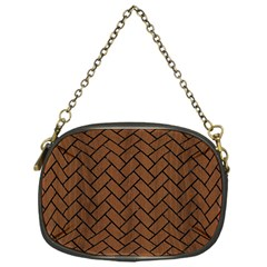 Brick2 Black Marble & Brown Wood (r) Chain Purse (one Side) by trendistuff