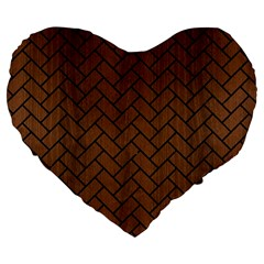 Brick2 Black Marble & Brown Wood (r) Large 19  Premium Flano Heart Shape Cushion by trendistuff