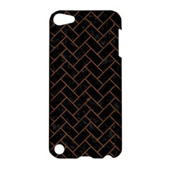 Brick2 Black Marble & Brown Wood Apple Ipod Touch 5 Hardshell Case by trendistuff