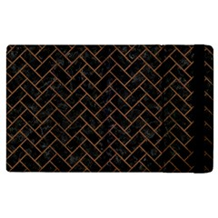 Brick2 Black Marble & Brown Wood Apple Ipad 3/4 Flip Case by trendistuff