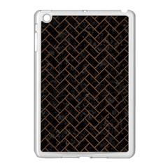 Brick2 Black Marble & Brown Wood Apple Ipad Mini Case (white) by trendistuff