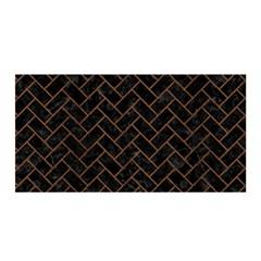 Brick2 Black Marble & Brown Wood Satin Wrap by trendistuff