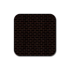 Brick1 Black Marble & Brown Wood Rubber Square Coaster (4 Pack) by trendistuff