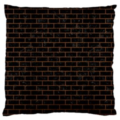 Brick1 Black Marble & Brown Wood Large Flano Cushion Case (two Sides) by trendistuff