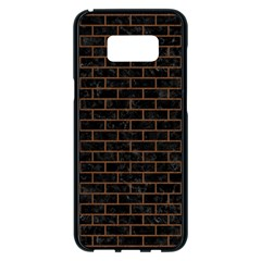 Brick1 Black Marble & Brown Wood Samsung Galaxy S8 Plus Black Seamless Case by trendistuff
