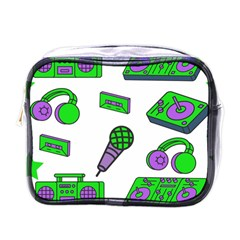 Green Music Pattern Mini Toiletries Bags by TheLimeGreenFlamingo